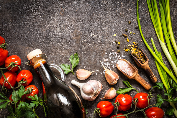помидоров зеленый лук соль специи приготовления Сток-фото © Natalya_Maiorova