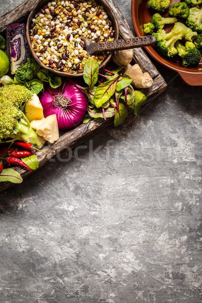Frutta fresca verdura cereali dadi ingredienti Foto d'archivio © Natalya_Maiorova