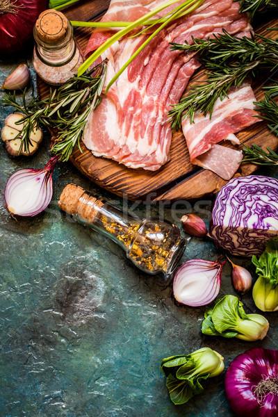растительное Ингредиенты мяса приготовления блюд деревенский Сток-фото © Natalya_Maiorova