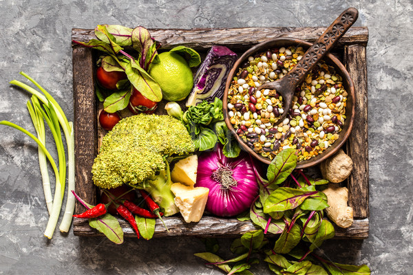 Friss gyümölcs zöldségek gabonafélék diók pázsit hozzávalók Stock fotó © Natalya_Maiorova