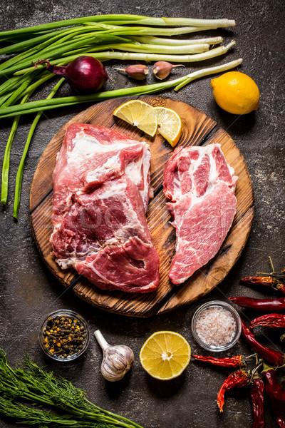 Carne filetto carne di maiale erbe limone Foto d'archivio © Natalya_Maiorova