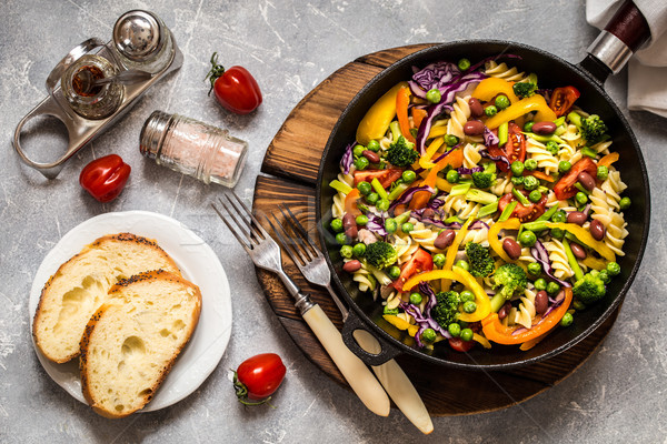 pasta salad with broccoli, vegetables, cabbage, tomato, beans, peas and greens Stock photo © Natalya_Maiorova