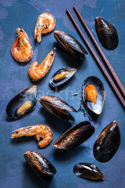 Deniz ürünleri kabuk karides mavi ızgara Stok fotoğraf © Natalya_Maiorova