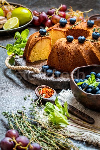 торт цитрусовые свежие черника виноград Сток-фото © Natalya_Maiorova