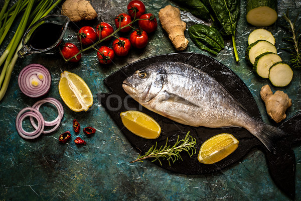 Pesce verdura limone erbe blu spezie Foto d'archivio © Natalya_Maiorova