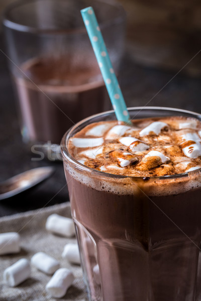 hot chocolate with marshmallows in a glass beaker Stock photo © Natalya_Maiorova