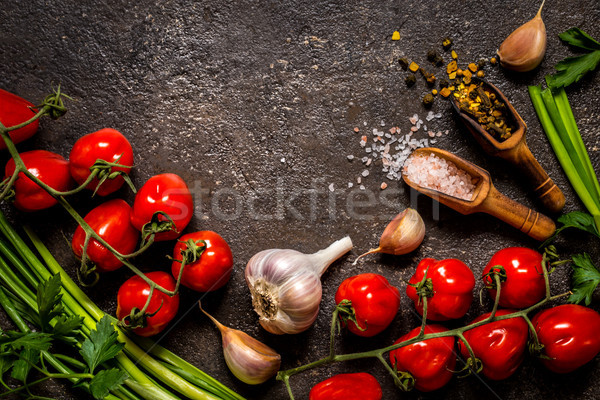 tomatoes, green onions, salt, spices for cooking on a dark background Stock photo © Natalya_Maiorova
