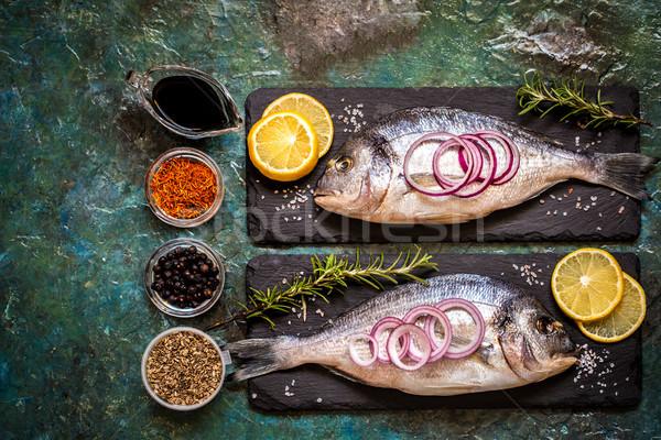 рыбы овощей лимона травы синий специи Сток-фото © Natalya_Maiorova