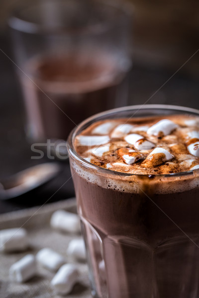 Chocolat chaud verre bécher faible bébé chocolat Photo stock © Natalya_Maiorova