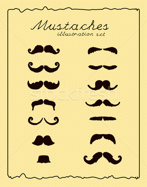 Mustaches retro illustration set Stock photo © Natashasha