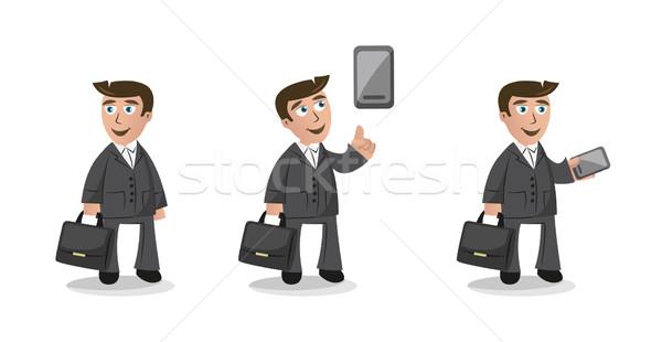 смешные Cartoon бизнесмен характер три мобильного телефона Сток-фото © Natashasha