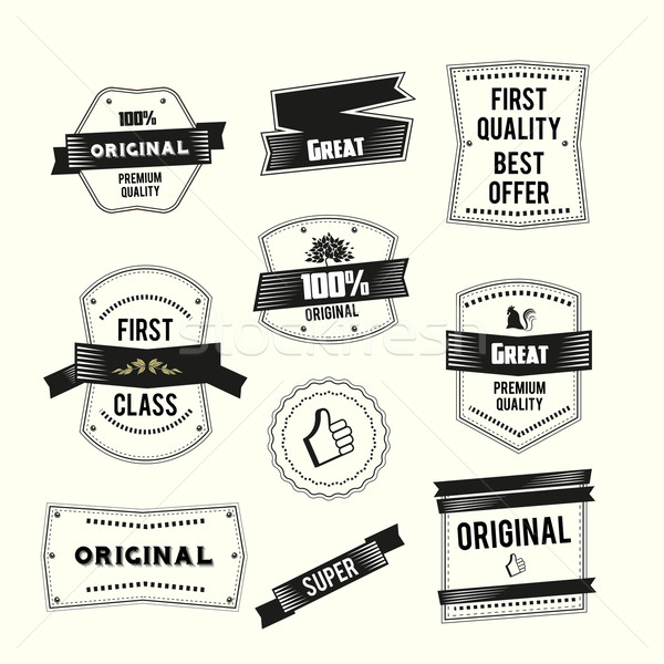 Retro Vintage labels set Premium quality and Original theme Stock photo © Natashasha