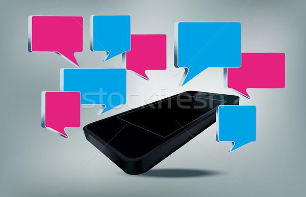 Telefoon tekst bubbels geïsoleerd business muziek Stockfoto © Natashasha