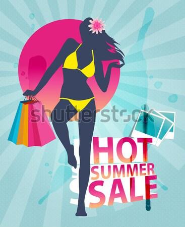 ショッピング 販売 夏 バナー 少女 ファッション ストックフォト © Natashasha