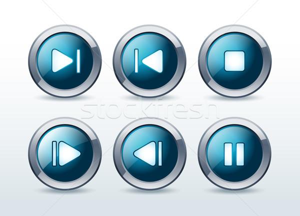 Media player icons set vector illustration  Stock photo © Natashasha