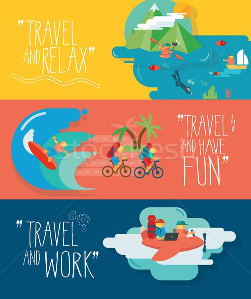 Set of traveling vector illustrations. Different types of travel. Stock photo © Natashasha