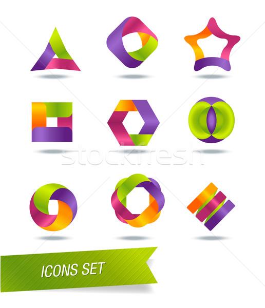 Zestaw ikona odizolowany działalności komputera Zdjęcia stock © Natashasha