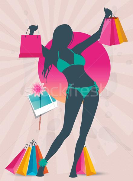 Lata zakupy sprzedaży banner moda dziewczyna Zdjęcia stock © Natashasha