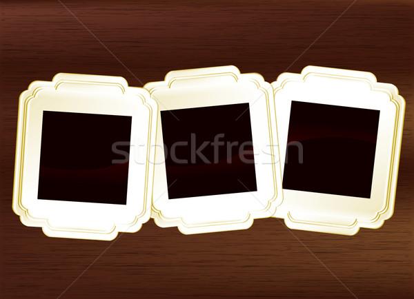Photo frame set buio legno texture film Foto d'archivio © Natashasha
