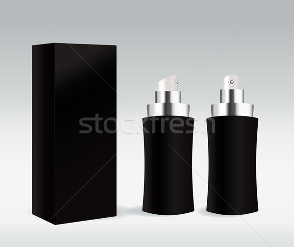 Black cosmetic container for face cream, gel, serum or foundation Stock photo © Natashasha