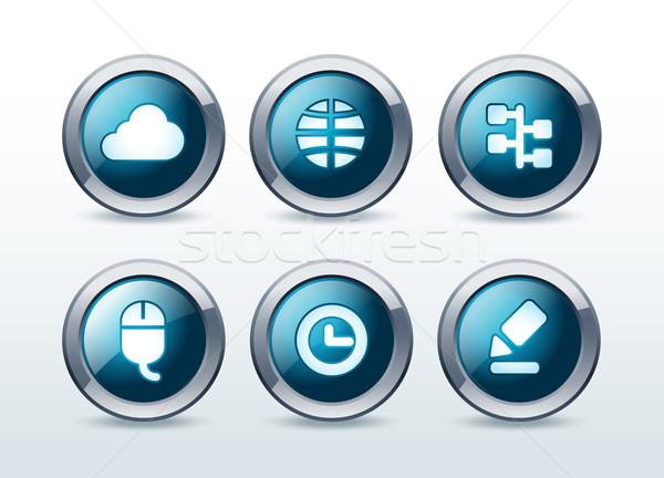Web button icon set vector illustration Stock photo © Natashasha