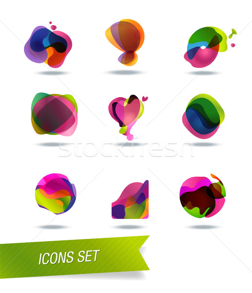 Abstracte vorm iconen geïsoleerd achtergrond web star Stockfoto © Natashasha