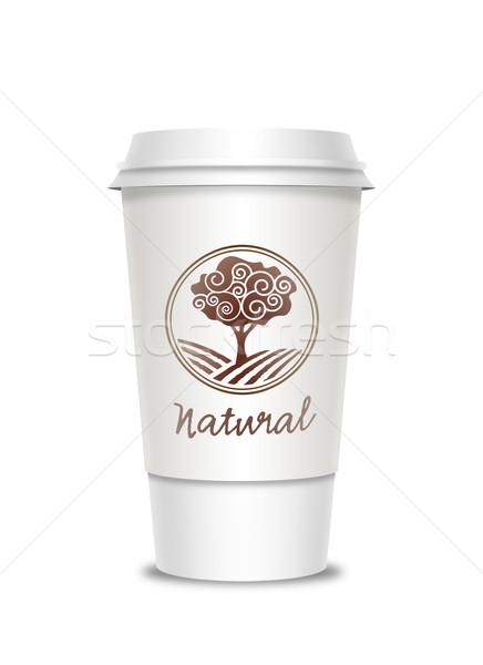 Kahve fincanı etiket yalıtılmış beyaz kahve plastik Stok fotoğraf © Natashasha