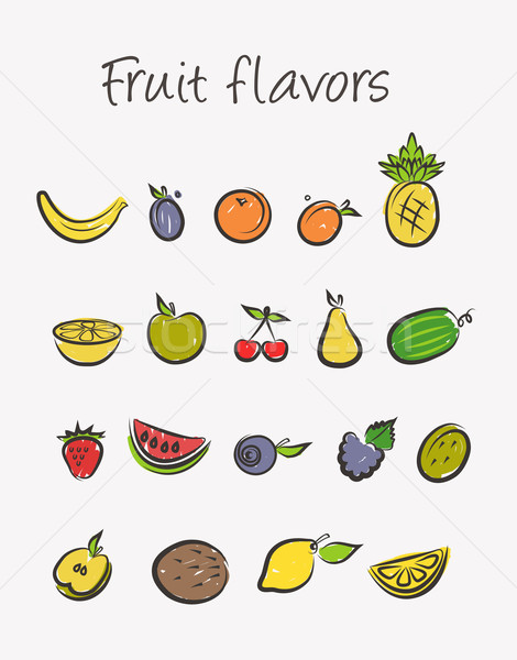 Vruchten geïsoleerd oranje aardbei banaan Stockfoto © Natashasha