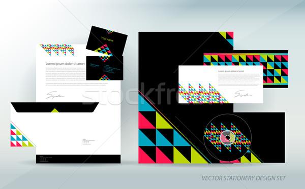 Kolorowy materiały biurowe zestaw trójkąt odizolowany działalności Zdjęcia stock © Natashasha