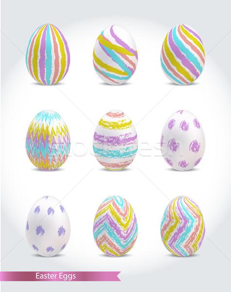 Ayarlamak renkli paskalya yumurtası Paskalya doku sevmek Stok fotoğraf © Natashasha