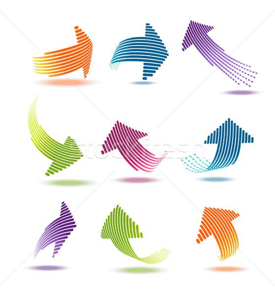 Pijlen lijnen ingesteld geïsoleerd business groene Stockfoto © Natashasha