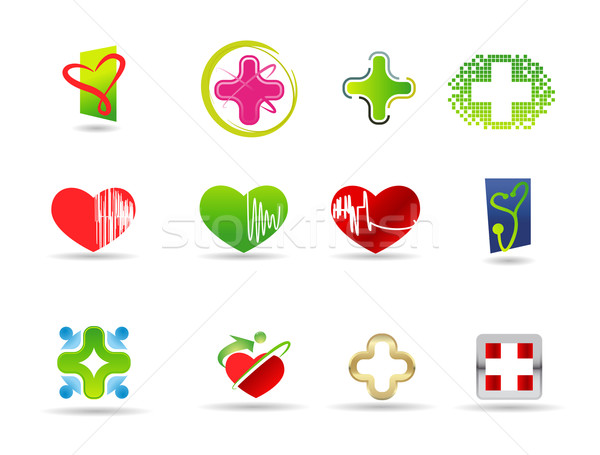 Medical and health icon set Stock photo © Natashasha