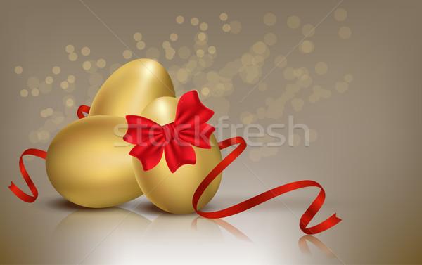 Złoty Easter Eggs Wielkanoc kolor wakacje piękna Zdjęcia stock © Natashasha