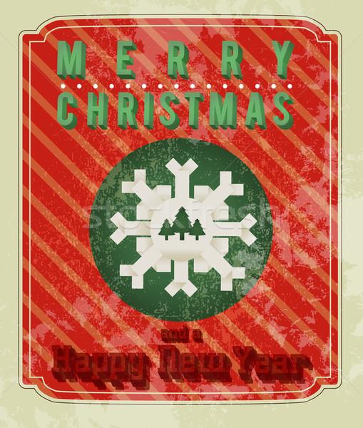 ретро Рождества дизайна бумаги дерево счастливым Сток-фото © Natashasha