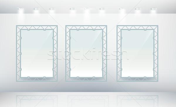 Three blank wall frames Stock photo © Natashasha