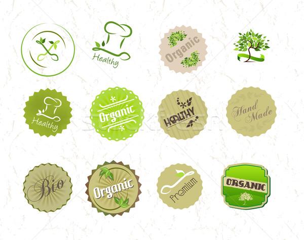 Этикетки набор органический природного Эко продовольствие Сток-фото © Natashasha