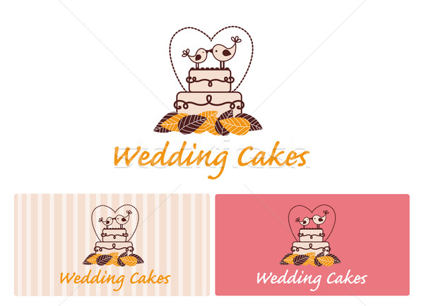свадебный торт иллюстрация изолированный белый продовольствие свадьба Сток-фото © Natashasha