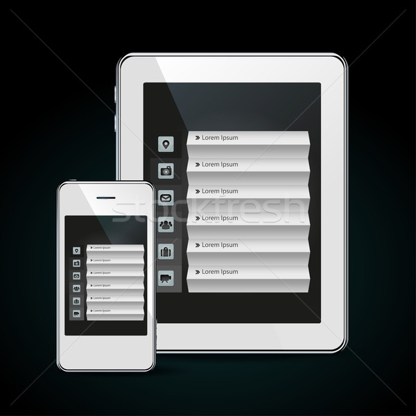 Weiß Menü isoliert Kommunikation Handy Stock foto © Natashasha