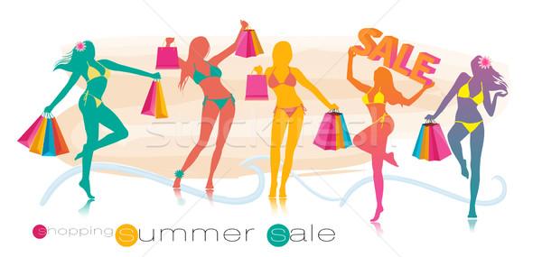 Zomer winkelen verkoop meisje silhouetten gelukkig Stockfoto © Natashasha
