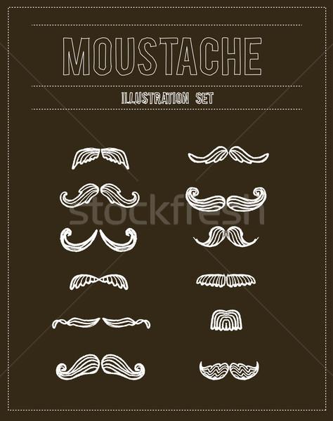 Mustaches sketch doodle vector set Stock photo © Natashasha