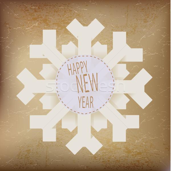 оригами снежинка с Новым годом текста бумаги текстуры Сток-фото © Natashasha