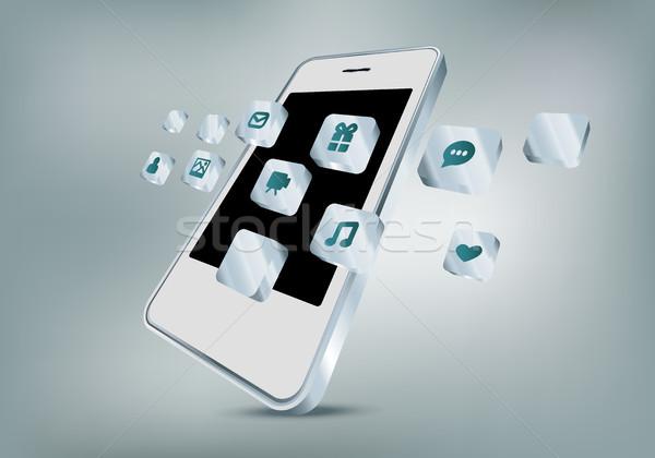 携帯電話 アプリ アイコン 孤立した 技術 電話 ストックフォト © Natashasha