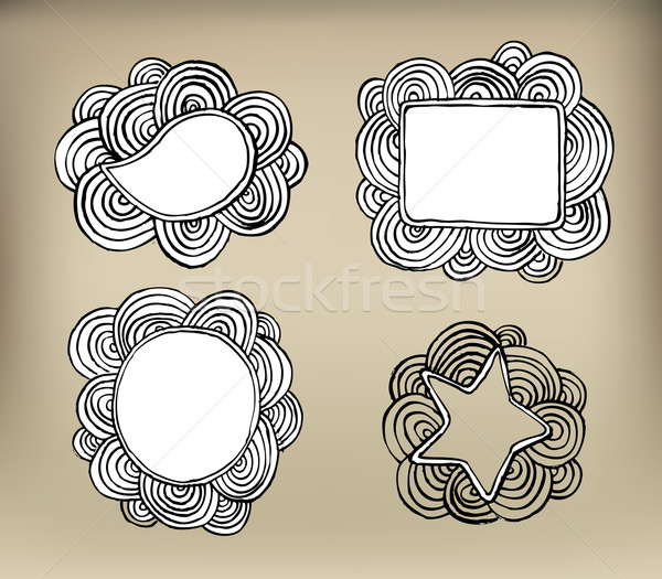 Curly banners illustration doodle Stock photo © Natashasha