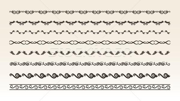 Stock fotó: Dekoratív · keret · elemek · terv · absztrakt · levél