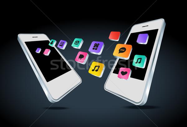 Telefonu komórkowego app ikona odizolowany Internetu komórkowych Zdjęcia stock © Natashasha