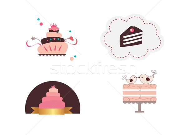 Cute gebak illustraties geïsoleerd witte voedsel Stockfoto © Natashasha
