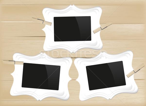 Foto frames hout textuur frame Stockfoto © Natashasha