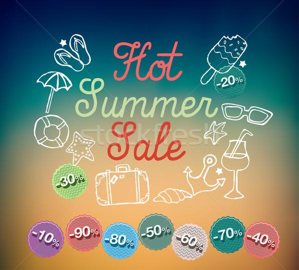 Hot lata sprzedaży banner elementy pomarańczowy Zdjęcia stock © Natashasha