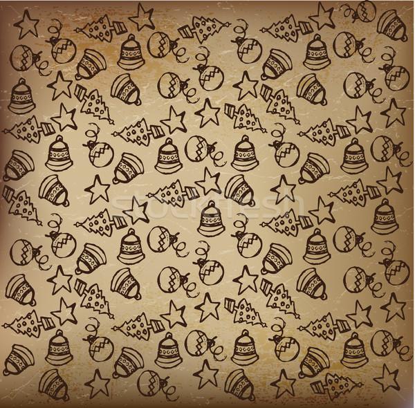 Karácsony tél firka rajz elemek papír Stock fotó © Natashasha