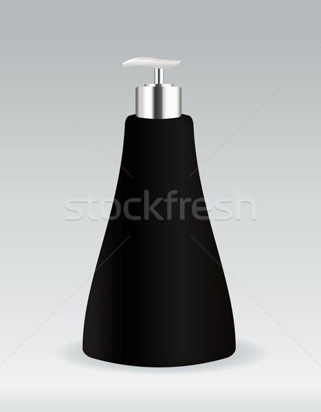 Zwarte cosmetische container fles zeep gel Stockfoto © Natashasha